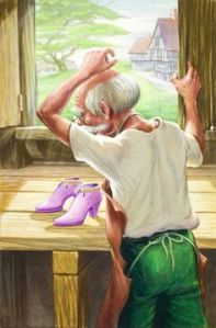The shoemaker's posture clearly conveys that he has never seen a pair of shoes this fucking fantastic in his whole life. And he's a professional shoemaker! And he's an old man!